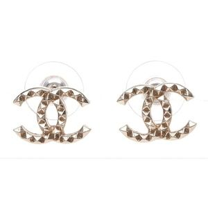 Authentic Chanel Gold Studded CC Earrings
